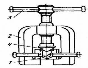 Схема стандартного инструмента для развальцовки медных труб