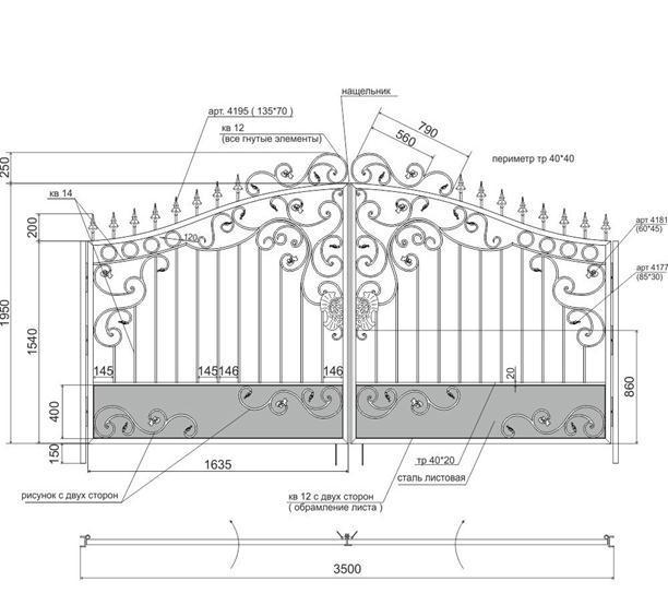 Пример чертежа кованых ворот
