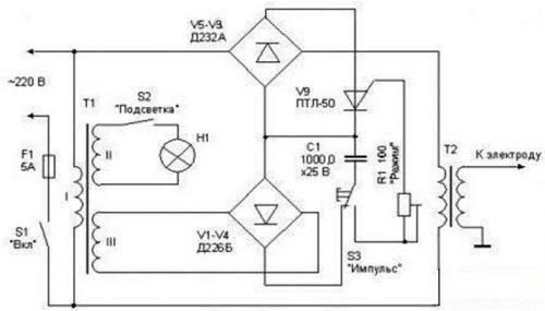 Схема сварочного конденсаторного аппарата