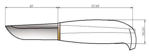 Простой чертеж финского ножа