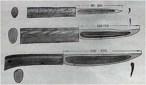 Три типоразмера якутских ножей