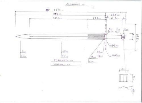 Схема-чертеж одноручного меча